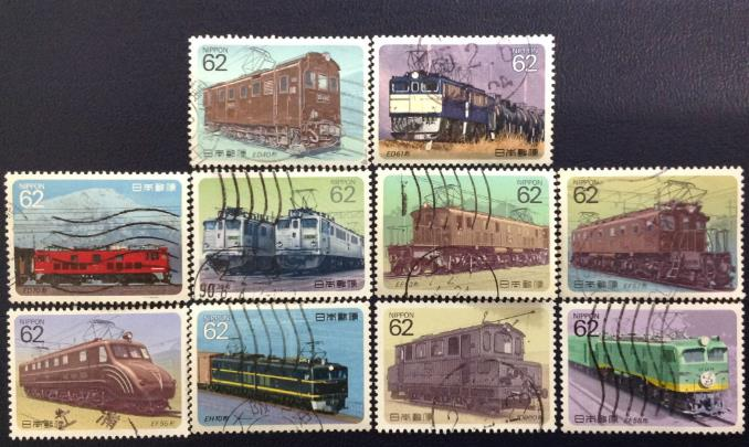 10Pcs/Set Japan Post Stamps Electric Train 1990 Used Post Marked Postage Stamps for Collecting C1269(China)