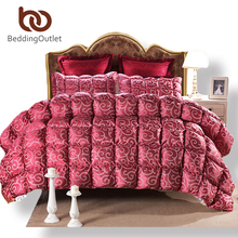BeddingOutlet Solid Quilt Red Luxury Silk Winter Comforter Goose Down Home Textiles Twin Queen King Duvet