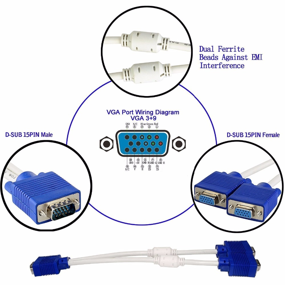 kuyia free shipping vga y splitter cable 15 pin vga 1 male to dual 2 vga  female adapter converter vga splitter cable-in data cables from consumer