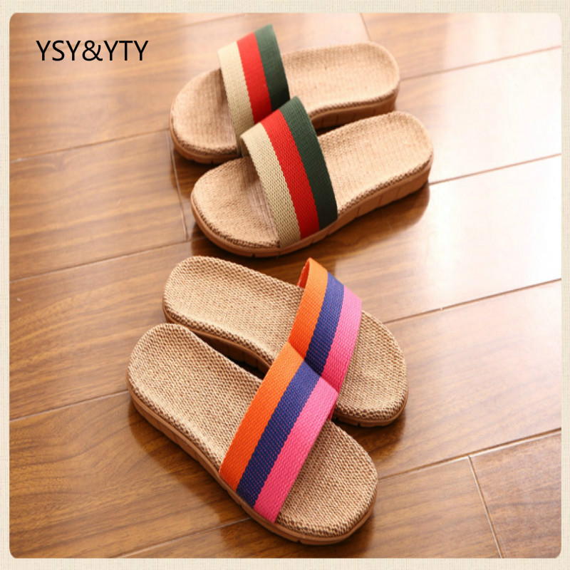 2019 Spring and summer home flax slippers men slippers sandals heavy-bottomed non-slip floor home indoor shoes