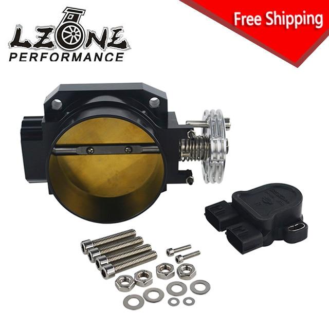 LZONE - FS 85MM BLACK Q45 THROTTLE BODY Intake Manifold +TPS THROTTLE POSITION SENSOR FOR nissan RB25DET RB26DET RB20DT GTS  цены