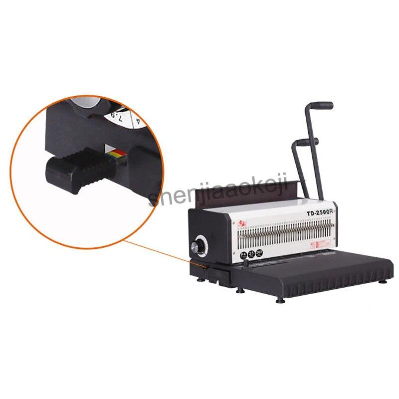 A4 Machine à relier fil de papier TD 2500R (rond) machine à relier anneau de fer calendrier de bureau machine à poinçonner manuelle 300 feuilles reliure - 2