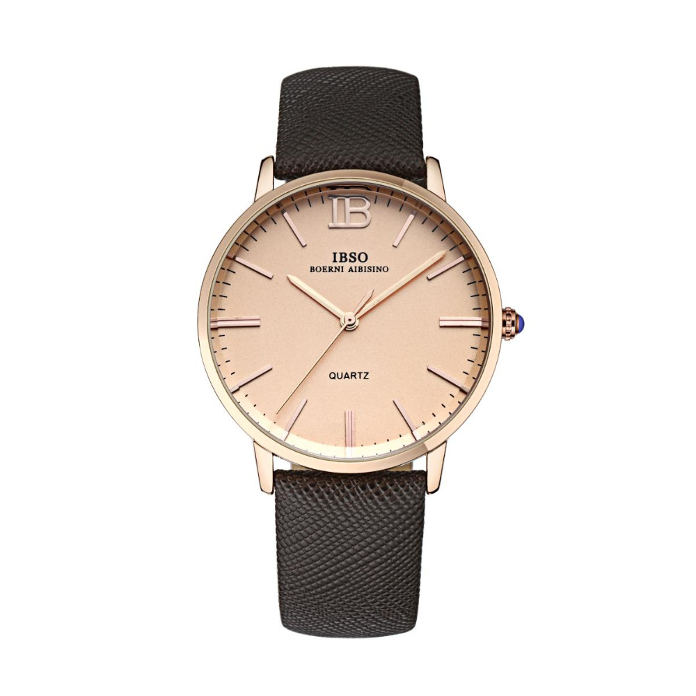 IBSO Classic Casual Couple Watches for Men and Women Analog Wrist Watch Leather Band 3803 daybird 3803 fashionable women s quartz analog wrist watch brown coffee 1 x lr626