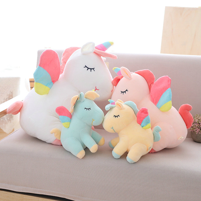 25cm 40cm 55cm lovely <font><b>unicorn</b></font> plush <font><b>toy</b></font> pink fly horse with rainbow wings baby kids appease doll birthday gift <font><b>for</b></font> little <font><b>girl</b></font> image