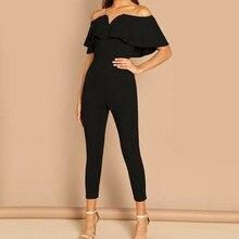 Fashion Women Playsuit Ruffle Off Shoulder Push Up Skinny Se