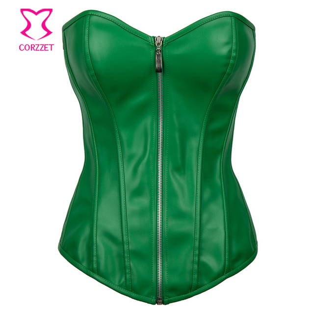 8ed51e24f55 Corzzet Green Bustier Leather Corset Corselet Plus Size Corsets And Bustiers  Steampunk Korsett For Women Gothic