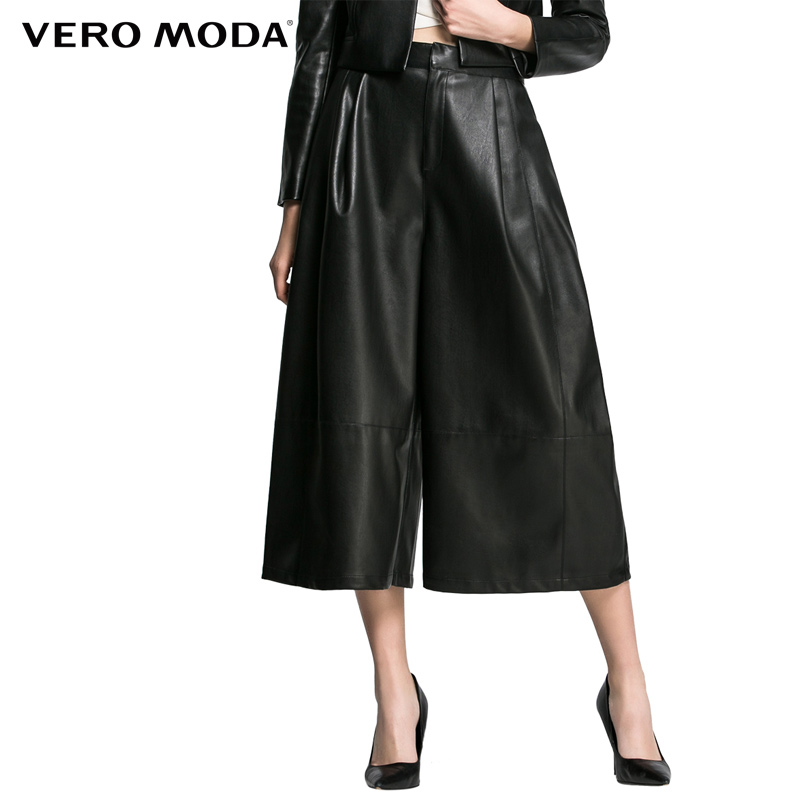 Vero Moda Marke 2018 NEUE OL-stil dunkle farbe PU leder nähte frauen kalb-länge hosen frauen breite bein hosen | 31616J002