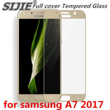 Full cover Tempered Glass for samsung Galaxy A7 2017 Duos A720 A720F 5.2 inch Screen Protective Gold Black frame all edge защитное стекло interstep full screen cover 0 3мм sams a7 2017 a720 black