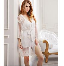 2017 Night Dress Women Spaghetti Strap Sleepwear V-Neck Lace Embroidery Nightgrown Robes Nightwear Sleep Dress 2 pieces/set