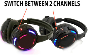 Image 2 - Silent Disco compete system black led wireless headphones   Quiet Clubbing Party Bundle (10 Headphones + 2 Transmitters)