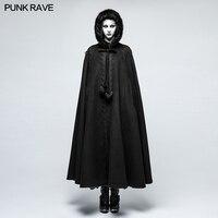 Панк Рейв черный готический Классический ретро свободные зимние модные женские туфли с капюшоном длинный плащ, пальто, детская накидка, вер
