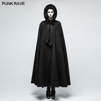 Punk Rave Black Gothic Classic Retro Loose Winter Fashion Women Hooded Long Cloak Cape Coat Y790