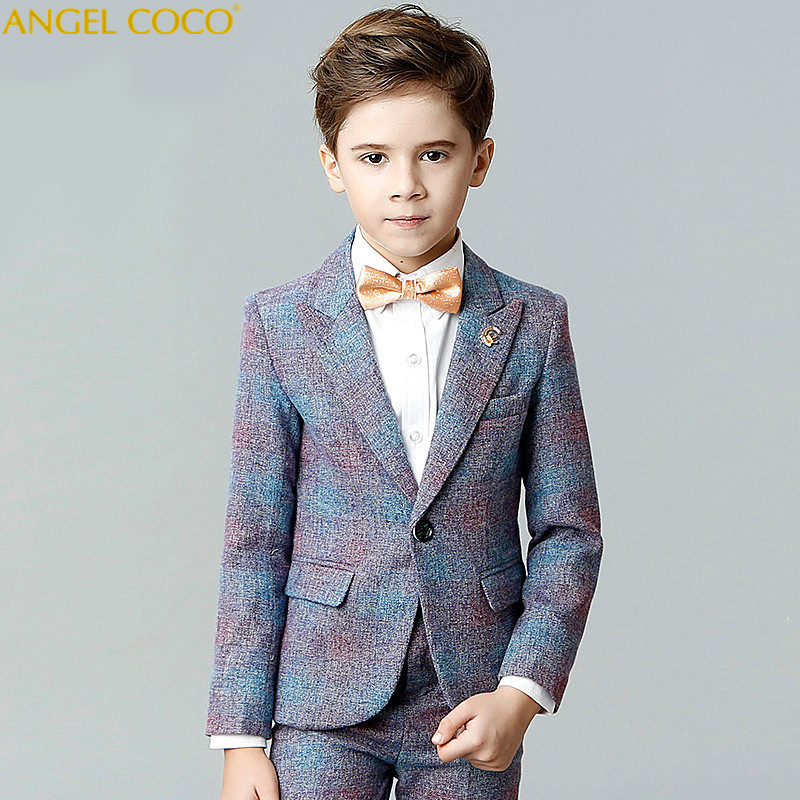 Boy Suit set Spring Catwalk Show Host Birthday Costumes Children Suit Boys Enfant Garcon Mariage Blue