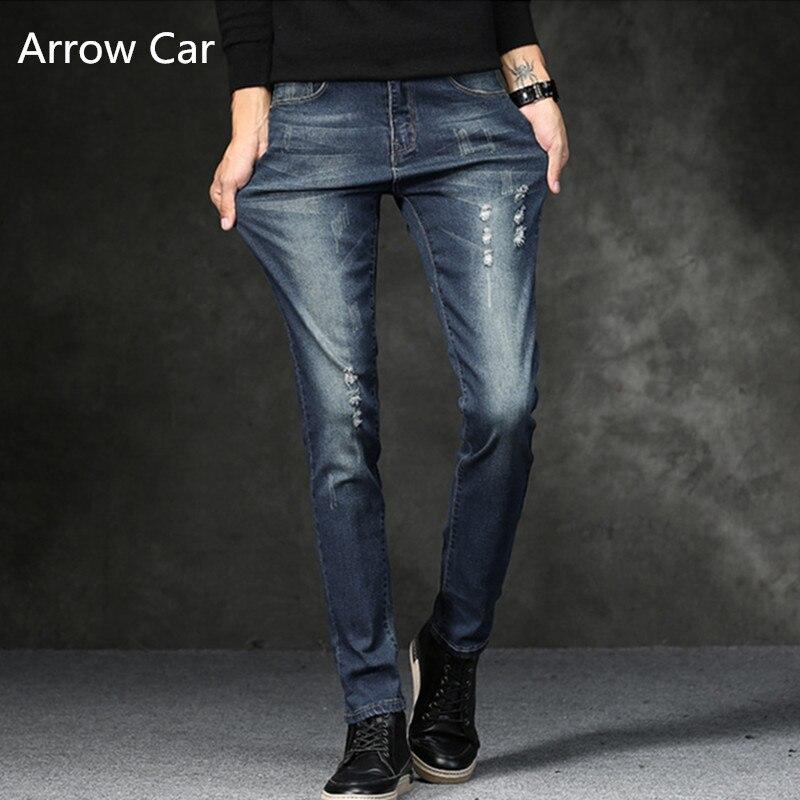 Flèche voiture élastique Jeans hommes 2018 nouveau Slim Fit trou solide pantalon décontracté Jean plantes mâle de haute qualité Skinny Jeans Homme