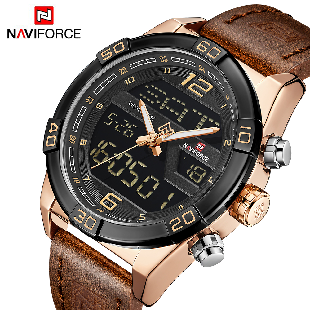 NAVIFORCE Luxury Men Sports Watches Men's Waterproof Quartz Clock Man Leather Army Military LED Digital Watch relogio masculino naviforce men s military sports watches men led digital watch waterproof full steel quartz watches man clock relogio masculino