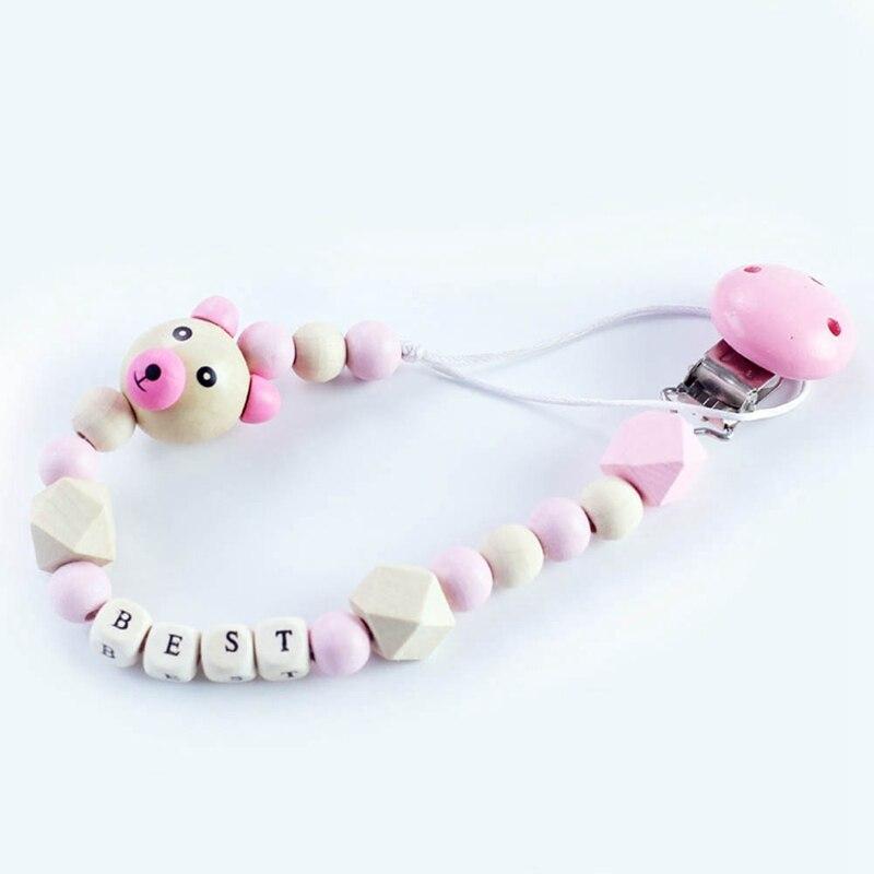 Baby Pacifier Clip Chain Cartoon Cute Bear Wooden Beads Pendant Boys Girls Dummy Pacifier Toys Teether Holder Clips