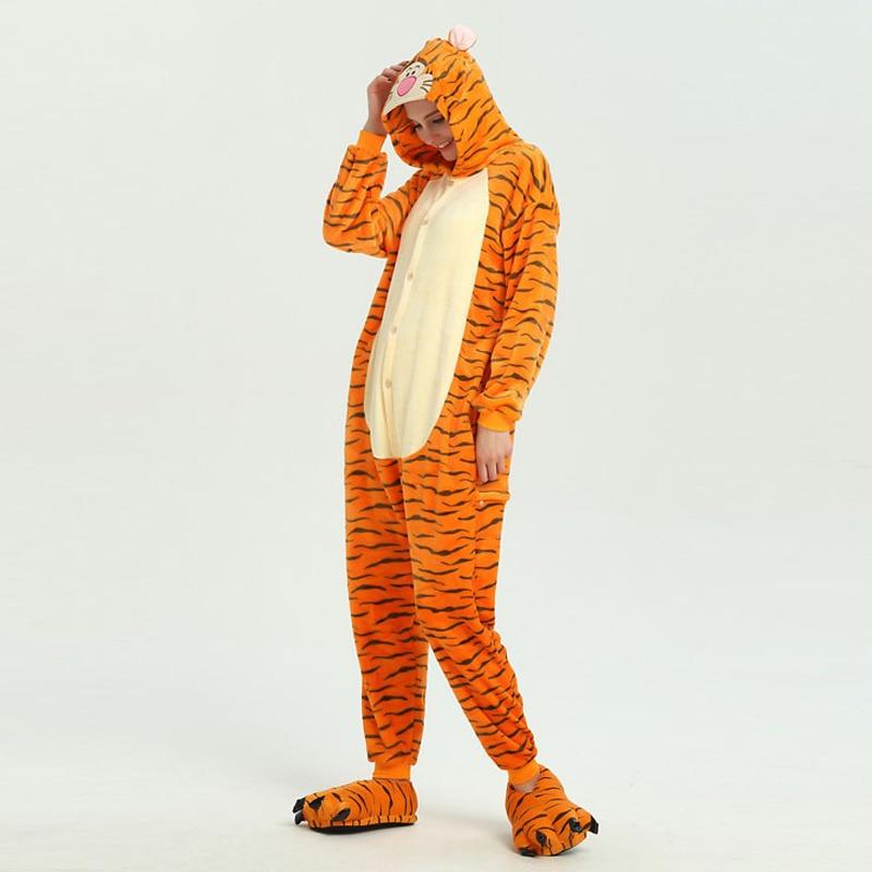 Funny Orange Tiger Animal Kigurumi Flannel Onesie For Women Pajamas Party Bodysuit Cosplay Unisex Sleepwear Halloween Pyjamas (3)