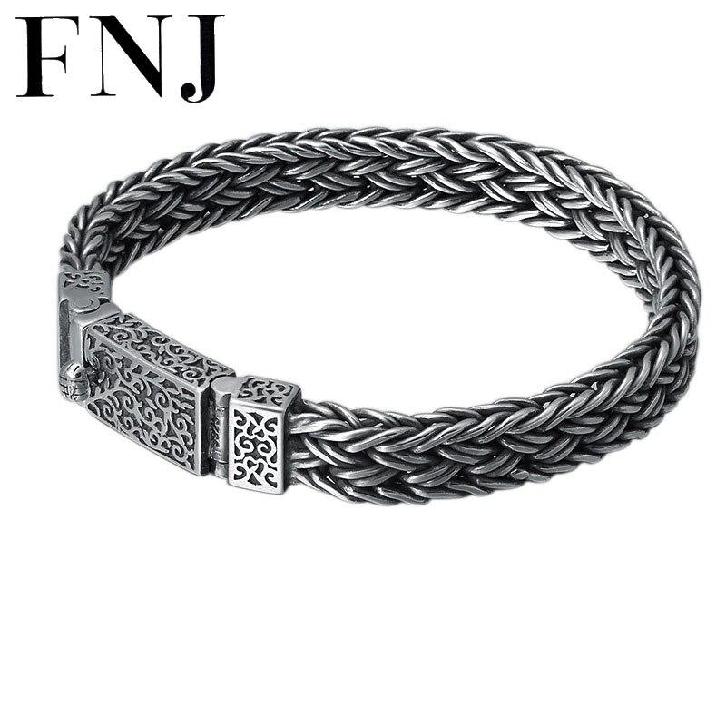 FNJ 9mm chaîne Bracelet 925 argent 22 20 cm câble-fil nouvelle mode Original pur S925 Thai argent Bracelets pour hommes bijoux