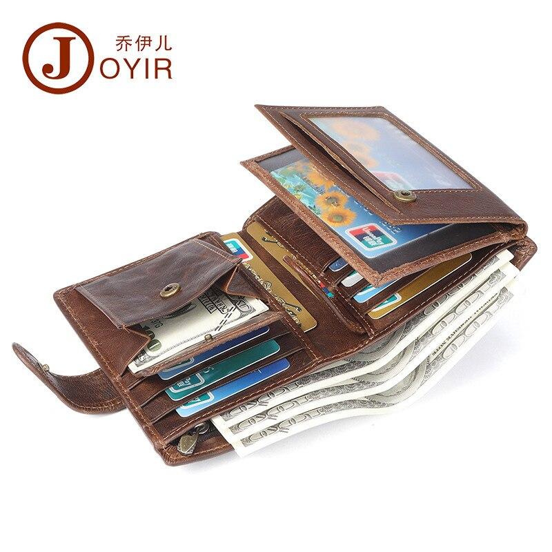 Joyir hot sale new dermis wallet men more card position crazy horse leather retro leisure anti-theft brush short-length purse