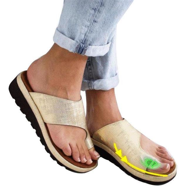 Phụ nữ PU Da Giày Thoải Mái Nền Tảng Phẳng Duy Nhất Phụ Nữ Giản Dị Mềm Big Toe Chân Chỉnh Sandal Chỉnh Hình Bunion Corrector