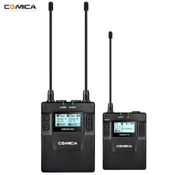 CoMica UHF Microphone 96-Channel Wireless Lavalier Transmitter+Receiver System for Canon Nikon Sony Camera Smartphone