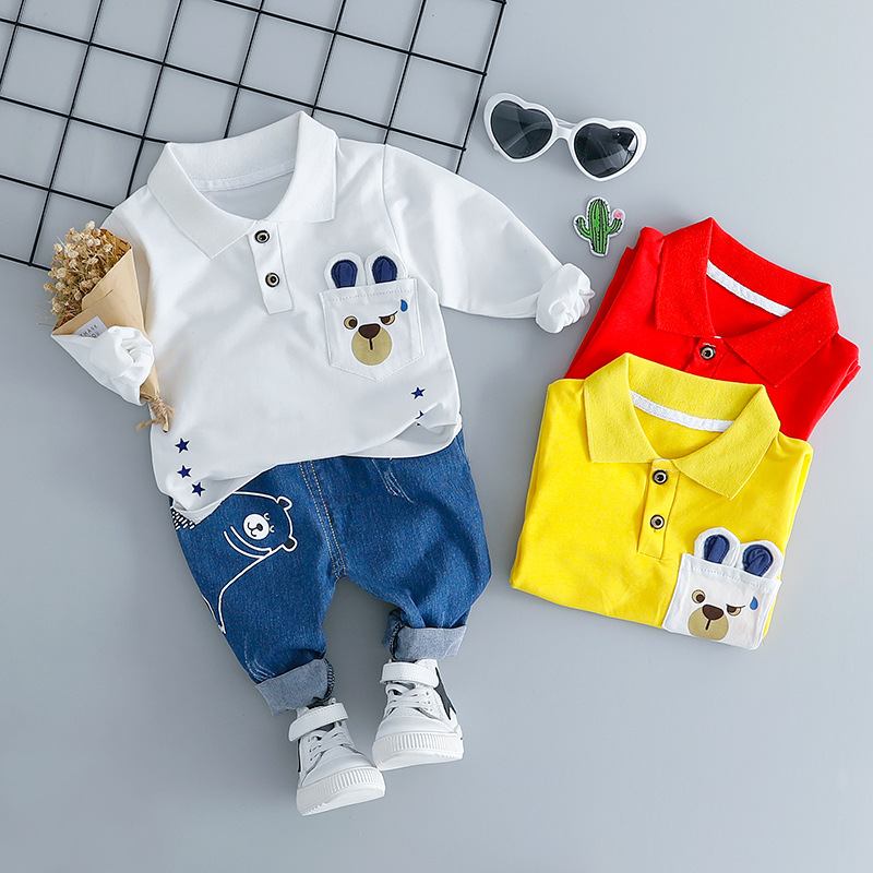 HYLKIDHUOSE Baby Girl Boy Clothing Sets Infant Clothes Suits Cartoon Bear Lapel T Shirt Jeans Casual Kid Child Clothes Suits 2017 spring newborn baby girl casual cotton clothing set butterfly t shirt floral leggings infant bebe suits clothes sets