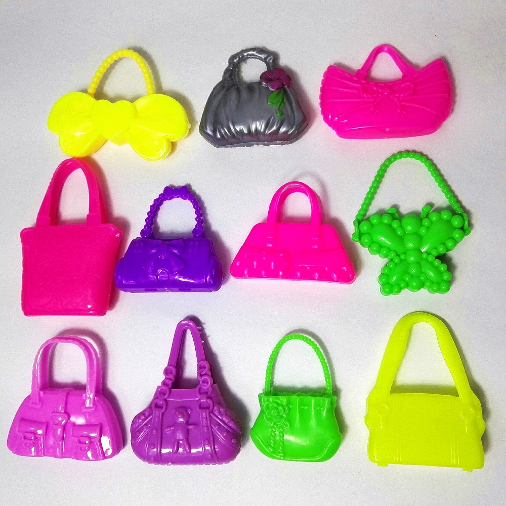 8 PCS Mix Styles Doll Bags Accessories font b Toy b font Colorized Fashion Morden Bags