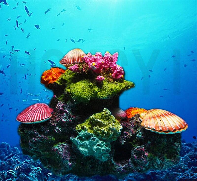Аквариумное украшение кораллового рокера, аквариумный пейзаж, морской пейзаж, ракушка кораллового рифа, имитация воды, травы, раковины