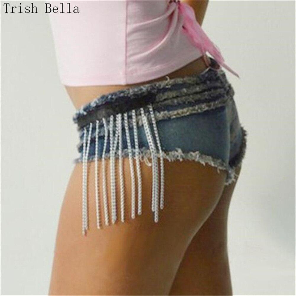 jeans woman 2017 new fashion Mosaic UltraShort Nightclub Lotus leaf Tassels ripped jeans for women jeans