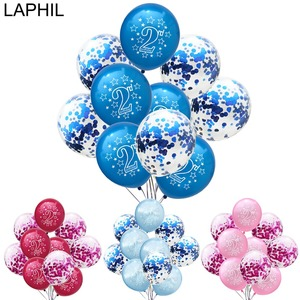 LAPHIL 2nd Birthday Balloon 10pcs Blue Pink Latex Confetti Balloons Boy Girl Happy 2nd Birthday Party Decoration Baby 2 Year