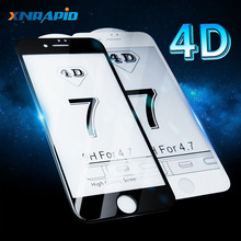 4D Glass For iPhone X XR XS MAX Screen Protector Round Curved Edge Tempered Full Cover for 6 6S 7 8 Plus Protective Film