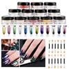 ELECOOL 12 Boxes Magic Mirror Chrome Effect Nail Art Pigment Powder Shine 12 Brushes For Beauty