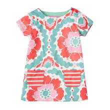 Lovely Summer Floral Patterned Cotton Baby Girl's Dress