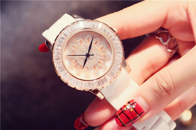 Fashion New Popular Rotational Women Watches 100% Real Ceramic Bracelet Wrist watch Romantic Crystals Floral Montre Femme W092