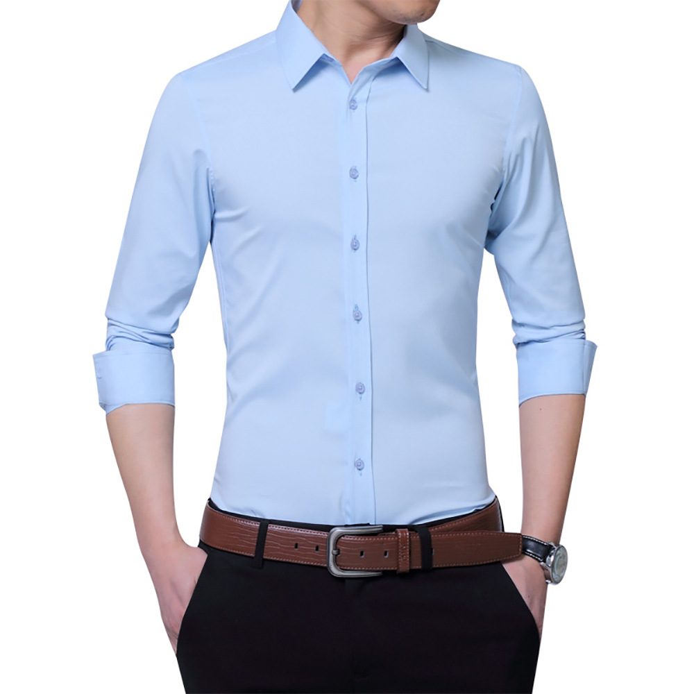 Mens Shirts New Casual Long Sleeved Shirt Slim Fit Man Social Business Dress Shirt Brand ...