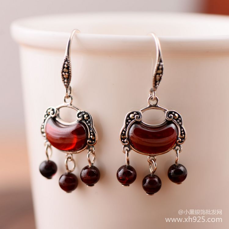 Garnet Earrings Whole Silver S925 Antique Style Manual Diy Women Folk Series