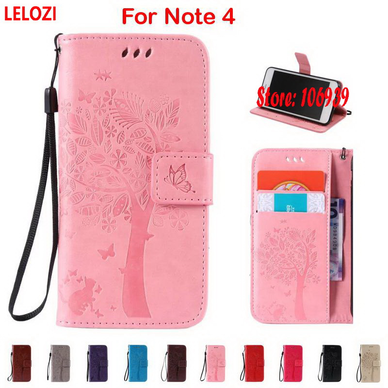 LELOZI Tree Flower Cat Butterfly PU Leather Lather Wallet Wallt Case caso etui For Samsung Galaxy Note 4 N910 Note4 N910C
