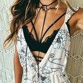 De las mujeres Atractivas de la Manera Correa de Cuello V Hollow Encaje Bralette Bra Crop Casual Top 09WG