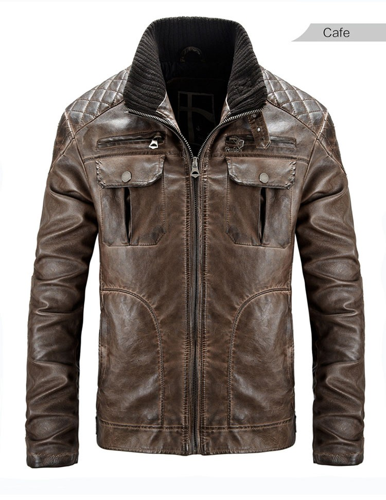 Motorcycle leather jackets men jaqueta de couro masculina 2016 fashion casual pu zipper coat stand collar slim fit outwear M3XL (15)