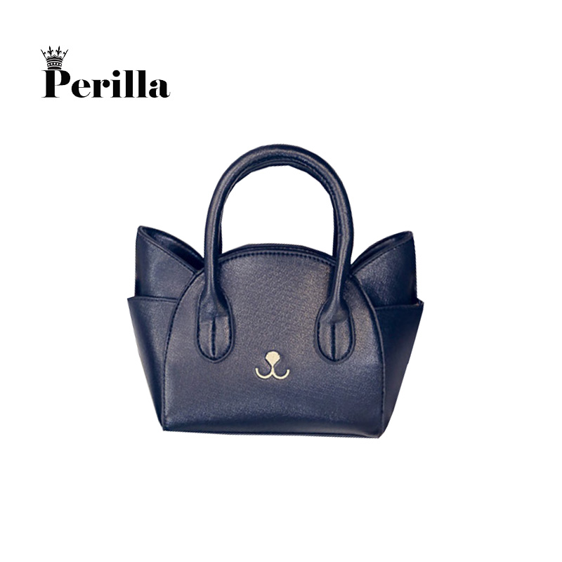 Perilla Brand Womens Hand Bags Small Cute Cat Messenger Bag Luxury Handbags Women Leather Bags Ladies Black Famous Brands