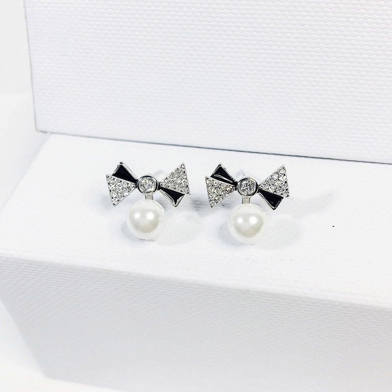 ladies cubic zircone & enemal bowknot with sea pearl stud earrings sterling silver 925 for women fashion jewelry party