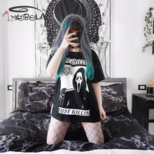 Imily Bela Gothic Grim Reaper Devil Printed T Shirt Women Black Loose Long T-shirt 2019 Summer Casual Dark Short Sleeve Tops недорого