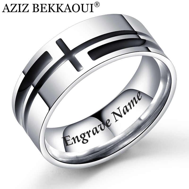 AZIZ BEKKAOUI نقش اسم الصليب حلقة الرجال شخصية وعاء من الستانليس ستيل الأسود رمز من الإيمان الصليب خواتم مجوهرات الأزياء