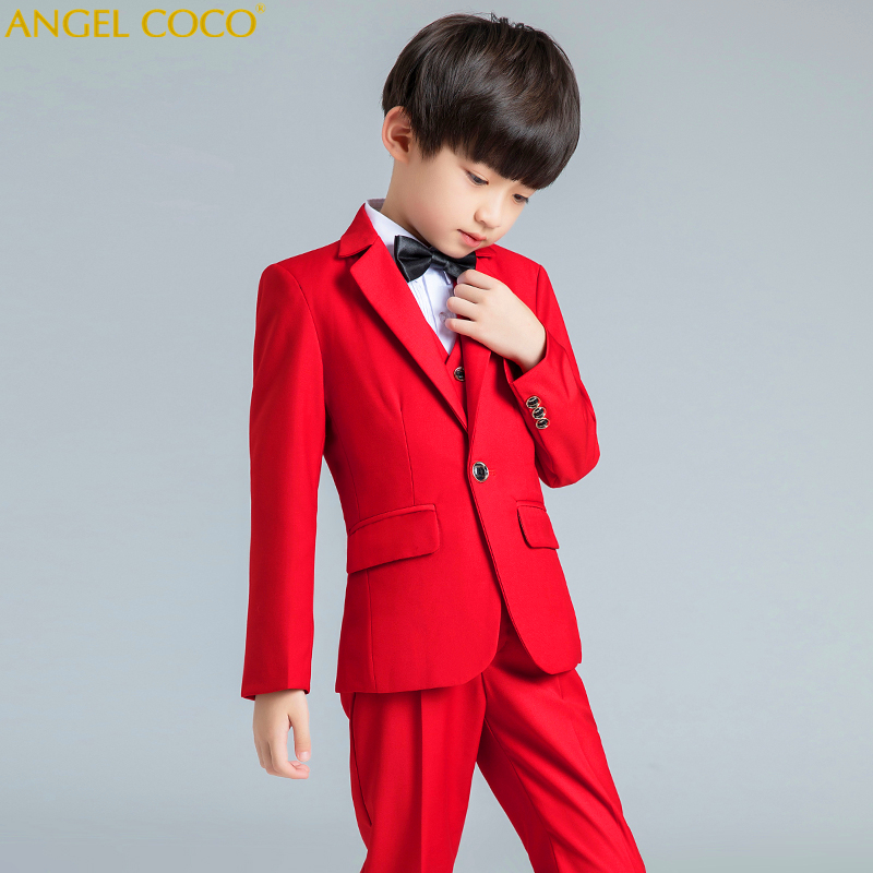 2019 New Fashion Red Boys Suit Kids Blazers Boy Suit For Weddings Prom Formal Spring Autumn Wedding Dress Boys Suits Set 2018
