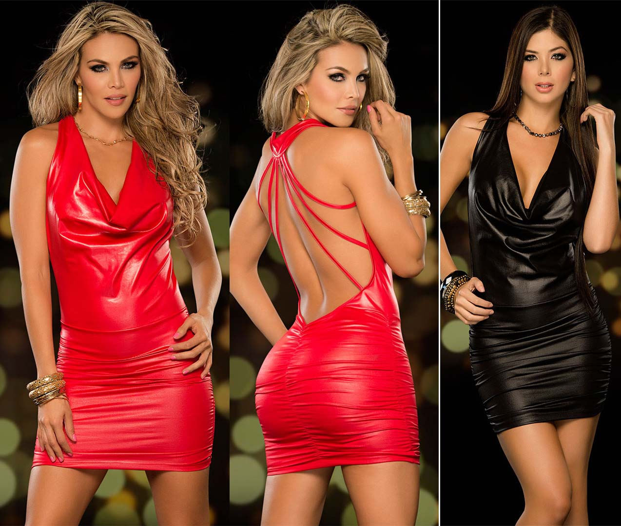 Hot 2015 Sexy Leather Dress Black Red Ladies Girls Bodycon Club Clubwear Faux Leather -3578