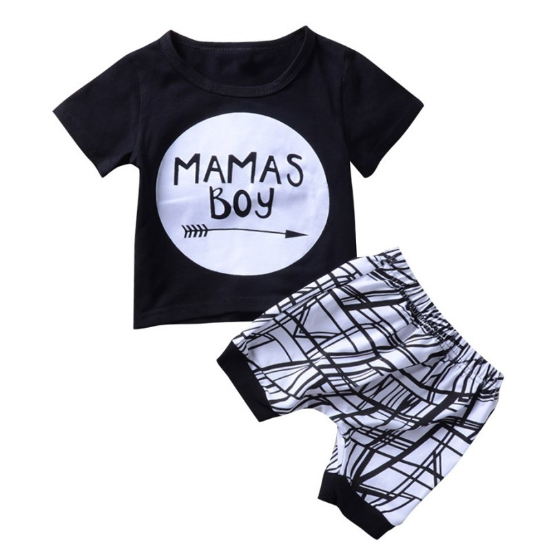 Children Boy Clothing 2pcs Set Suits Short Sleeve Letter Printed T-shirts+Striped Black White Shorts Baby Kids Boys Clothes