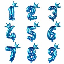 LAPHIL 30inch Blue Pink Number Foil Balloons 1 2 3 4 5 6 7 8 9 Years Happy Birthday Party Decorations Kids Favors Crown Balloon