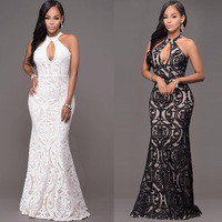 Elegant Lace Bodycon Dress Ball Gown Hollow Out Sleeveless White Black Dress Sexy Women Evening Party Dresses W6600330