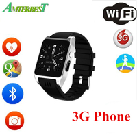AMTERBEST X86 Bluetooth Wifi Sport Smart Watch Support 3G/2G SIM Card Android OS Smartwatch with Camera Skype Whatsapp Facebook