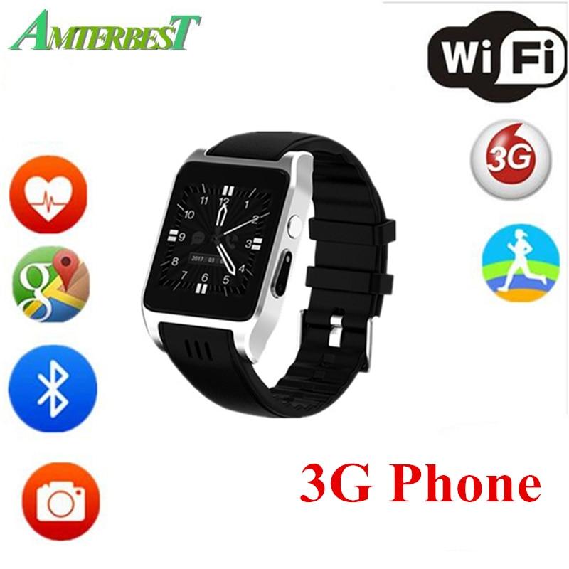 AMTERBEST X86 Bluetooth Wifi Sport montre intelligente prise en charge 3G/2G carte SIM Android OS Smartwatch avec caméra Skype Whatsapp Facebook